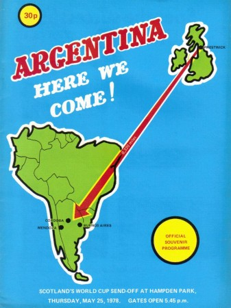 Scotland 1978 World Cup send-off - Image footballprogrammes.co.uk
